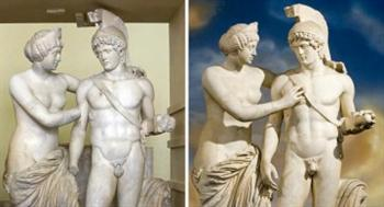 A escultura, antes e depois do restauro (Remo Casilli/REUTERS)